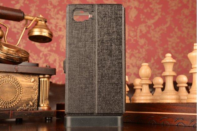 """Фирменный чехол-книжка для Lenovo Vibe Z2 mini K920 5.5"""" дюймов черный с окошком для входящих вызовов и свайпом водоотталкивающий"""