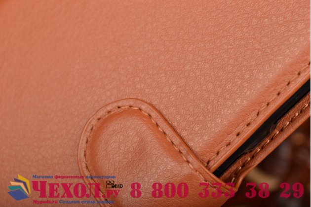 Фирменный чехол-книжка из качественной импортной кожи с мульти-подставкой застёжкой и визитницей для Леново Вэйб З2 мини К920 5.5 дюймов коричневый