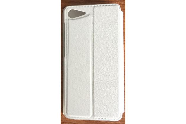 """Фирменный оригинальный чехол-книжка для Lenovo ZUK Z2 Pro 5.2""""  белый с окошком для входящих вызовов водоотталкивающий"""