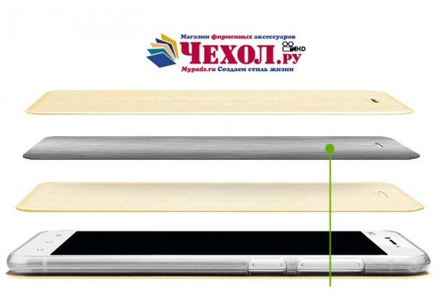 Фирменный чехол-книжка из качественной водоотталкивающей импортной кожи на жёсткой металлической основе для Lenovo Zuk Edge черный