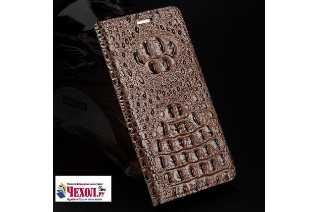 Фирменный роскошный эксклюзивный чехол с объёмным 3D изображением рельефа кожи крокодила коричневый для Lenovo Zuk Edge . Только в нашем магазине. Количество ограничено