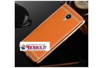Фирменная премиальная элитная крышка-накладка на Lenovo Zuk Edge коричневая из качественного силикона с дизайном под кожу