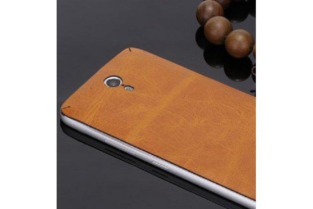 Эксклюзивная оригинальная кожаная задняя крышка (взамен родной)  для Lenovo Zuk Edge коричневая