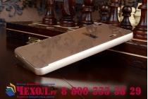 Фирменная металлическая задняя панель-крышка-накладка из тончайшего облегченного авиационного алюминия для Lenovo A6000/ A6010 Plus золотая