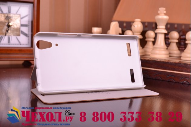 Фирменный чехол-книжка из качественной водоотталкивающей импортной кожи на жёсткой металлической основе для Lenovo K3 Music Lemon коричневый