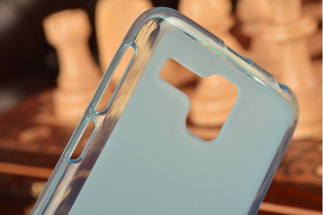 Фирменная ультра-тонкая полимерная из мягкого качественного силикона задняя панель-чехол-накладка для Lenovo A806 (A8) голубой