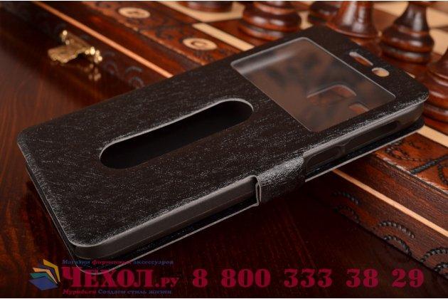 Фирменный чехол-книжка для Lenovo A806 (A8) черный с окошком для входящих вызовов и свайпом водоотталкивающий