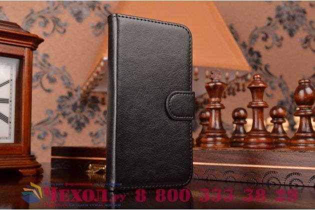 Фирменный чехол-книжка из качественной импортной кожи с подставкой застёжкой и визитницей для Леново А806 (А8) черный