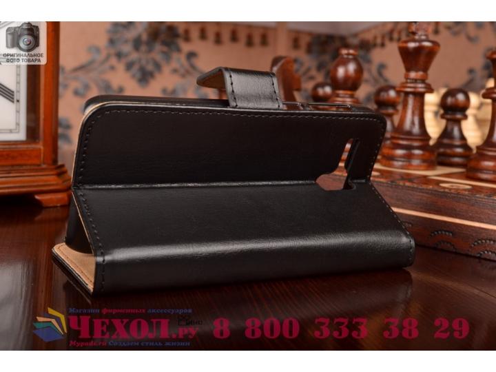 Фирменный чехол-книжка из качественной импортной кожи с подставкой застёжкой и визитницей для Леново А806 (А8)..