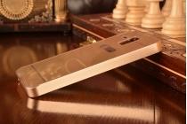 Фирменная металлическая задняя панель-крышка-накладка из тончайшего облегченного авиационного алюминия для Lenovo A806 (A8) золотая
