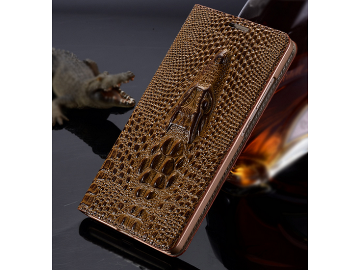Фирменный роскошный эксклюзивный чехол с объёмным 3D изображением кожи крокодила коричневый для Lenovo K80/P90..