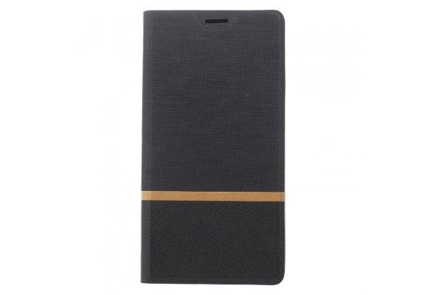 """Фирменный чехол-книжка для Lenovo Phab 2 PB2-650M 6.4"""" черный с золотой полосой водоотталкивающий"""