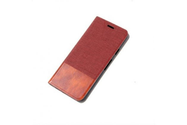 """Фирменный чехол-книжка для Lenovo Phab 2 PB2-650M 6.4"""" красный с коричневой полосой водоотталкивающий"""