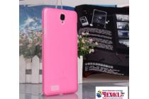 """Фирменная ультра-тонкая силиконовая задняя панель-чехол-накладка для Lenovo Phab 2 PB2-650M 6.4"""" розовая"""