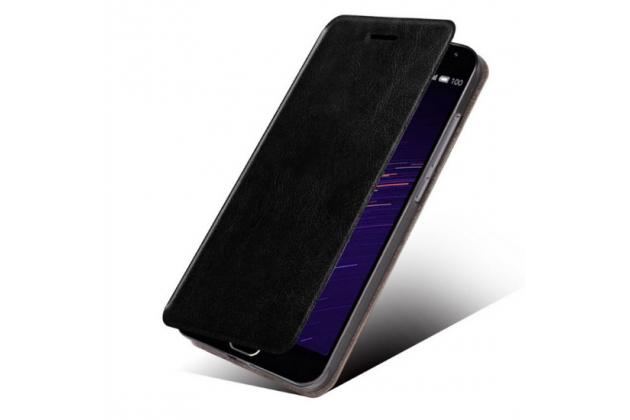 """Фирменный чехол-книжка из качественной водоотталкивающей импортной кожи на жёсткой металлической основе для Lenovo Phab 2 Pro PB2-690N 6.4"""" черный"""