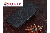 """Фирменный роскошный эксклюзивный чехол с фактурной прошивкой рельефа кожи крокодила и визитницей черный для Lenovo Phab 2 Pro PB2-690N 6.4"""". Только в нашем магазине. Количество ограничено"""