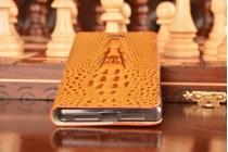 Фирменный роскошный эксклюзивный чехол с объёмным 3D изображением кожи крокодила коричневый для Lenovo Vibe Shot Z90-3/ Z90-7 . Только в нашем магазине. Количество ограничено