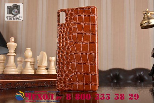 Фирменная элегантная экзотическая задняя панель-крышка с фактурной отделкой натуральной кожи крокодила кофейного цвета для Lenovo Vibe Shot Z90/Z90-3/Z90-7/Z90-A40/Z90A40 LTE 5.0 . Только в нашем магазине. Количество ограничено.