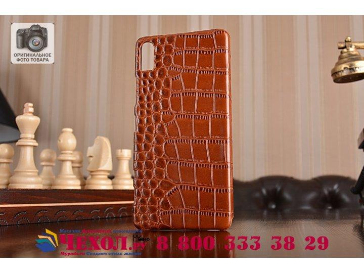 Фирменная элегантная экзотическая задняя панель-крышка с фактурной отделкой натуральной кожи крокодила кофейно..