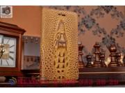 Фирменный роскошный эксклюзивный чехол с объёмным 3D изображением кожи крокодила коричневый для Lenovo Vibe Sh..