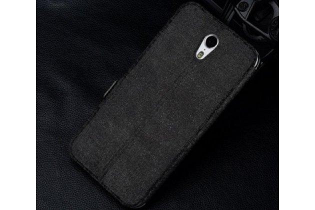Фирменный чехол-книжка для  Lenovo Zuk Z1  черный с окошком для входящих вызовов и свайпом водоотталкивающий