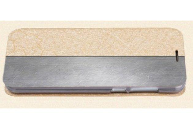Фирменный чехол-книжка водоотталкивающий с мульти-подставкой на жёсткой металлической основе для  Lenovo Zuk Z1 золотой
