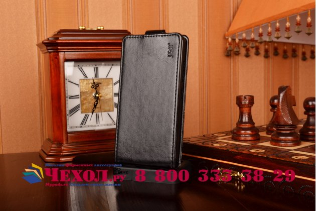 Фирменный оригинальный вертикальный откидной чехол-флип для Lenovo A5000 черный кожаный
