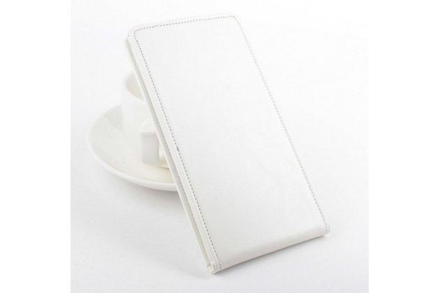 """Фирменный оригинальный вертикальный откидной чехол-флип для Lenovo A616 5.5"""" белый из натуральной кожи """"Prestige"""" Италия"""