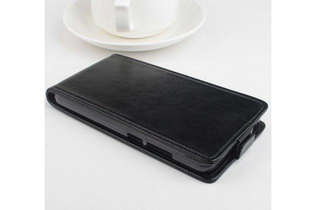 """Фирменный оригинальный вертикальный откидной чехол-флип для Lenovo A616 5.5"""" черный из натуральной кожи """"Prestige"""" Италия"""