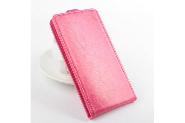 """Фирменный оригинальный вертикальный откидной чехол-флип для Lenovo A616 5.5"""" розовый из натуральной кожи """"Prestige"""" Италия"""