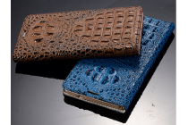 Фирменный роскошный эксклюзивный чехол с объёмным 3D изображением рельефа кожи крокодила синий для Lenovo A616. Только в нашем магазине. Количество ограничено