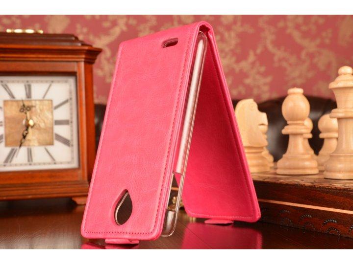 Фирменный оригинальный вертикальный откидной чехол-флип для Lenovo A830 розовый из качественной импортной кожи..