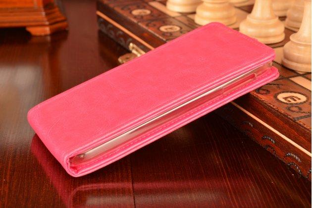 """Фирменный оригинальный вертикальный откидной чехол-флип для Lenovo A830 розовый из качественной импортной кожи """"Prestige"""" Италия"""