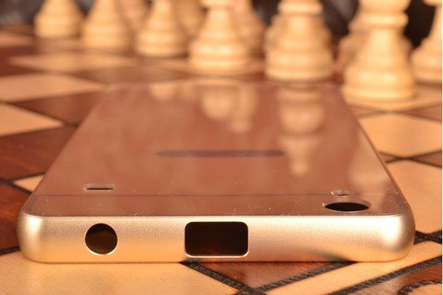 Фирменная металлическая задняя панель-крышка-накладка из тончайшего облегченного авиационного алюминия для Lenovo A936 золотая