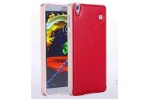 Фирменная роскошная элитная премиальная задняя панель-крышка на металлической основе обтянутая импортной кожей для Lenovo Note 8 A936 королевский красный