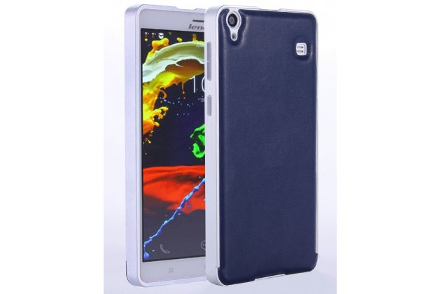 Фирменная роскошная элитная премиальная задняя панель-крышка на металлической основе обтянутая импортной кожей для Lenovo Note 8 A936 королевский синий