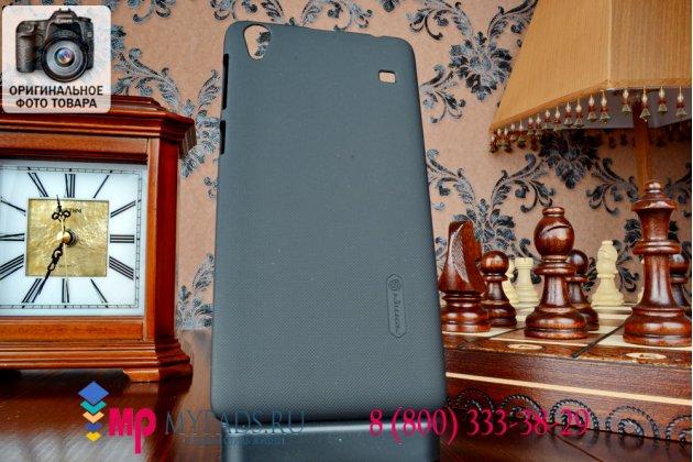 Фирменная задняя панель-крышка-накладка из тончайшего и прочного пластика для Lenovo A936 черная