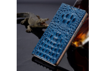 Фирменный роскошный эксклюзивный чехол с объёмным 3D изображением рельефа кожи крокодила синий для Lenovo Note 8 A936. Только в нашем магазине. Количество ограничено