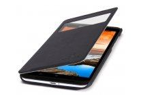 Фирменный оригинальный чехол-книжка для Lenovo S930 черный кожаный с окошком для входящих вызовов