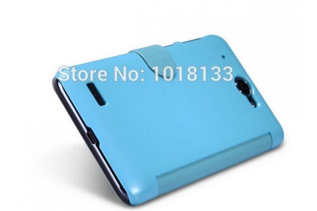 """Фирменный оригинальный чехол-книжка для Lenovo S939 6.0"""" голубой кожаный с окошком для входящих вызовов"""