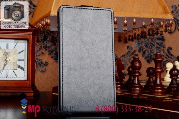 """Фирменный оригинальный вертикальный откидной чехол-флип для Lenovo S930 черный кожаный """"Prestige"""" Италия"""