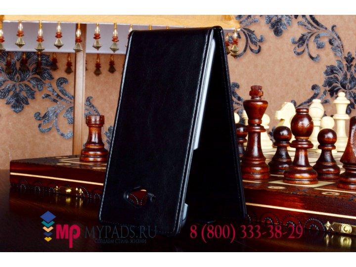 Фирменный оригинальный вертикальный откидной чехол-флип для Lenovo S930 черный кожаный