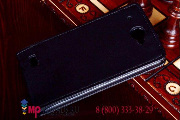 """Фирменный оригинальный вертикальный откидной чехол-флип для Lenovo S939 черный кожаный """"Prestige"""" Италия"""