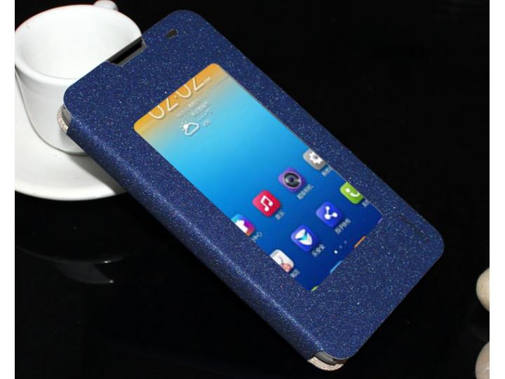 Фирменный оригинальный чехол-книжка для Lenovo S939 синий кожаный с окошком для входящих вызовов..