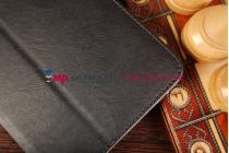 """Фирменный оригинальный чехол обложка для Lenovo Ideatab A3500-h/A7-50 с визитницей и держателем для руки черный натуральная кожа """"Prestige"""" Италия"""