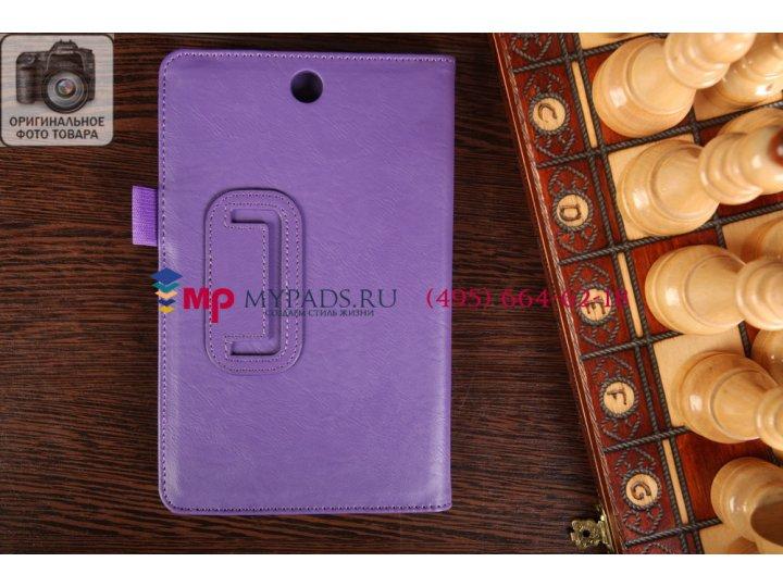 Фирменный чехол-книжка для Lenovo Ideatab A3500/A7-50 с визитницей и держателем для руки фиолетовый натуральна..