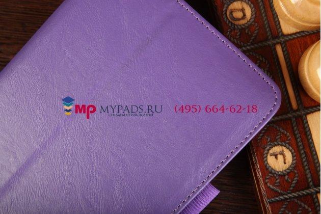 """Фирменный чехол-книжка для Lenovo Ideatab A3500/A7-50 с визитницей и держателем для руки фиолетовый натуральная кожа """"Prestige"""" Италия"""
