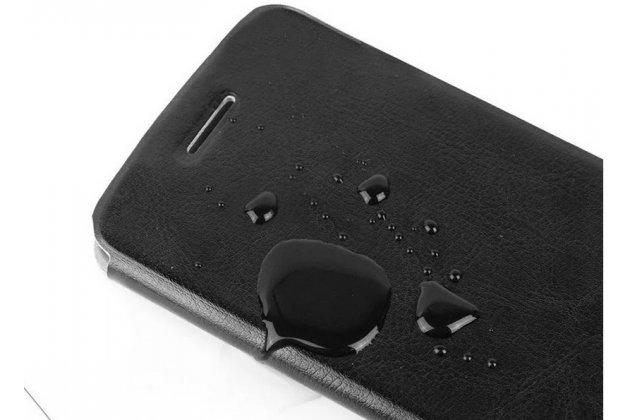 Фирменный чехол-книжка из качественной водоотталкивающей импортной кожи на жёсткой металлической основе для Lenovo K3 Music Lemon бирюзовый