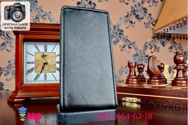 """Фирменный оригинальный вертикальный откидной чехол-флип для Lenovo K3/K30/A6000/ A6010 Plus черный из импортной кожи """"Prestige"""" Италия"""