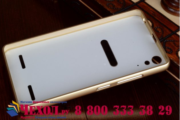Фирменная металлическая задняя панель-крышка-накладка из тончайшего облегченного авиационного алюминия для Lenovo K3 Music Lemon золотая